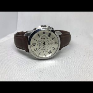 Men's fossil brown leather strap watch